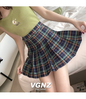 VEGA VESTUER Lattice Wrinkle Skirt-Green