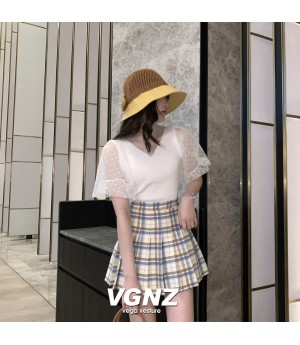 VEGA VESTUER Lattice Wrinkle Skirt-Apricot