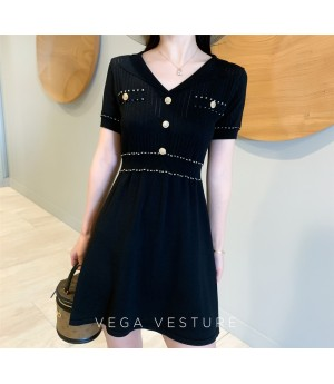 VEGA VESTURE Gold Side Knit Dress-Black