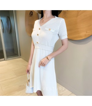 VEGA VESTURE Gold Side Knit Dress-White