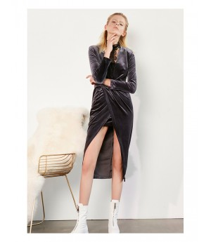 AlternaSenses  Front Split Velvet Dress