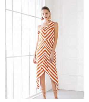 AlternaSenses Orange and White Asymmetric Dress
