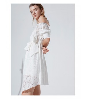 AlternaSenses White Dress with Bowknot Belt