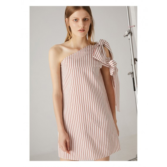 AlternaSenses One Shoulder Dress with Bowknot