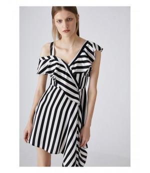 AlternaSenses Black and White One-Shoulder Dress