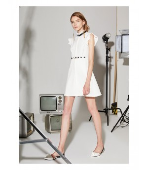 AlternaSenses White Stand Collar Dress