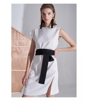 AlternaSenses White Halter Dress with Belt