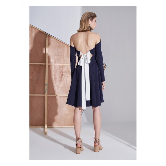 AlternaSenses Dark Blue Backless Bowknot Dress