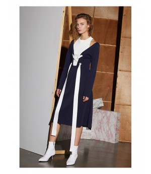 AlternaSenses Knit Blue and White Dress with Bandage