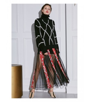 AlternaSenses Red Stripe Mesh Skirt