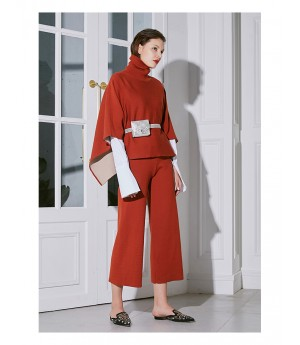 AlternaSenses High Neck Cloack Suit-Red