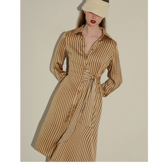 AlternaSenses Silk Stripe Shirt-Dress