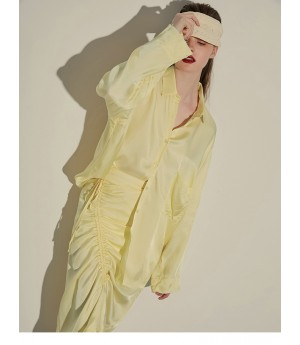 AlternaSenses Yellow Wrinkled Shirt&Skirt Set