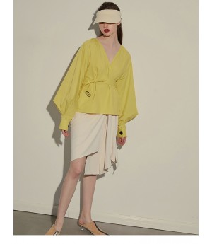 AlternaSenses Yellow Babble Sleeve Lace Shirt