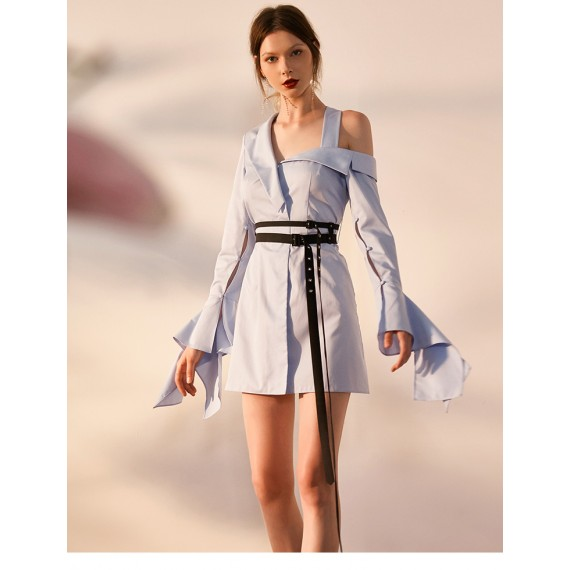 IcyNude Asymmetric Open Shoulder Shirt Dress (With Belt)