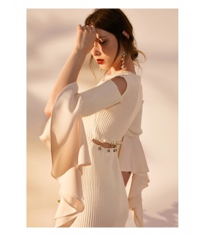 IcyNude Open Shoulder Knit Dress