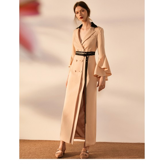 IcyNude Long Trench Coat (With Belt)