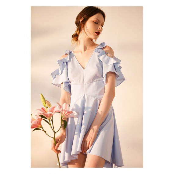 IcyNude Open Shoulder Shirt Dress