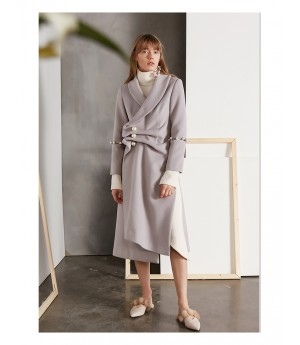IcyNude Heavy Woolen Peal Button Coat