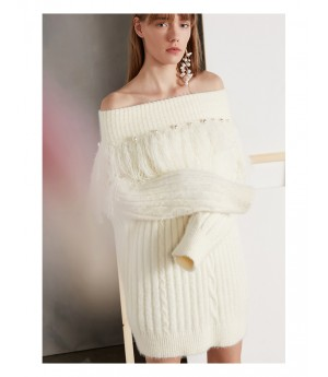 IcyNude Off-shoulder Long Sweater