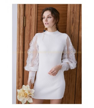 IcyNude Lace Sleeve Dress-White