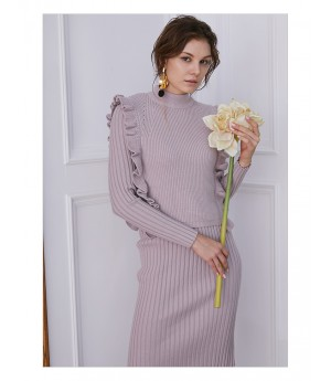 IcyNude Knitting Dress-Purple