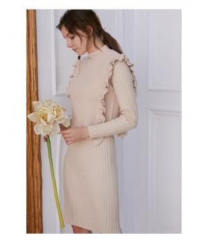 IcyNude Knitting Dress-Beige