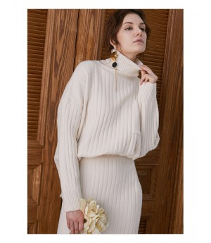 IcyNude High Neck Knitting Dress-White