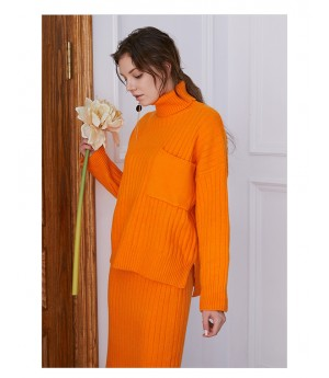 IcyNude High Neck Knitting Dress-Orange