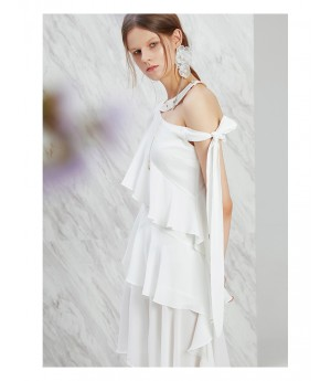 IcyNude White Oblique Shoulder Dress