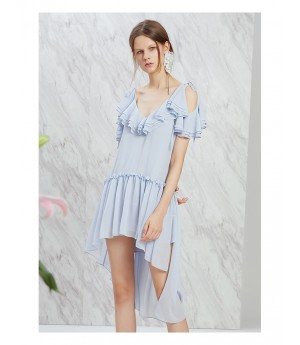 IcyNude Blue V-Neck Dress