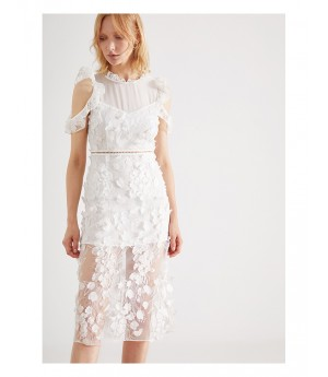 IcyNude White 3D-Flower Dress