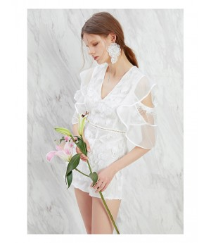 IcyNude White 3D Flower Dress