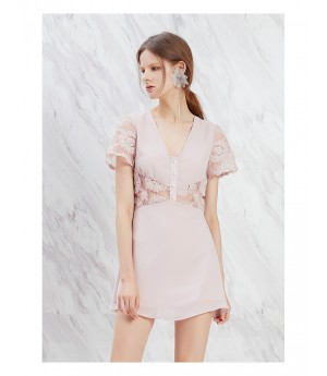 IcyNude Pink Dress with Waist Lace