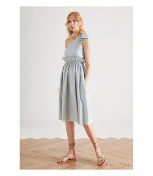 IcyNude Blue One-Shoulder Dress