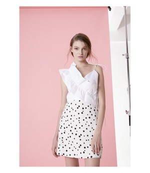 IcyNude Dress with Black Dot