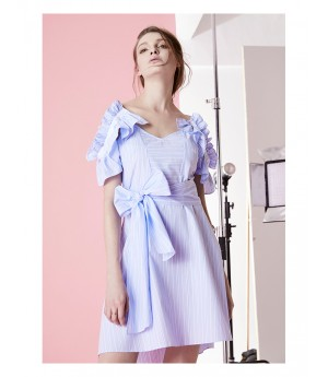 IcyNude Blue Bowknot Shirt Dress