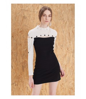 IcyNude Black and White A-Line Dress with Stand Collar