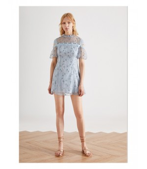 IcyNude Blue Lace Dress
