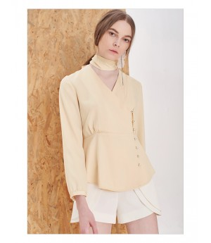 IcyNude Beige V-Neck Silk Shirt