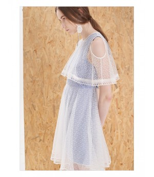IcyNude Cloak White Mesh and Blue Dress