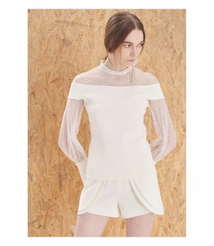 IcyNude Shoulder Transparency Top