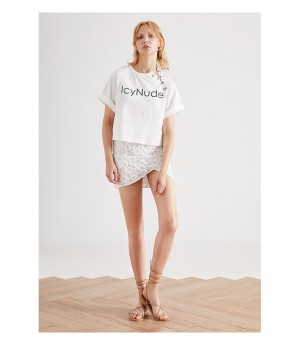 IcyNude Letter Printed T-Shirt
