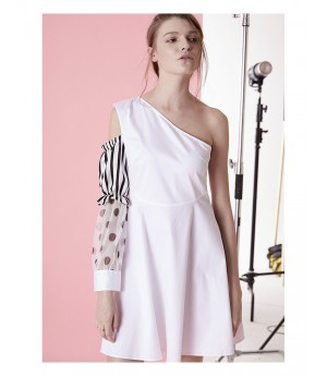 IcyNude One-Shoulder Dress with Puff Sleeve