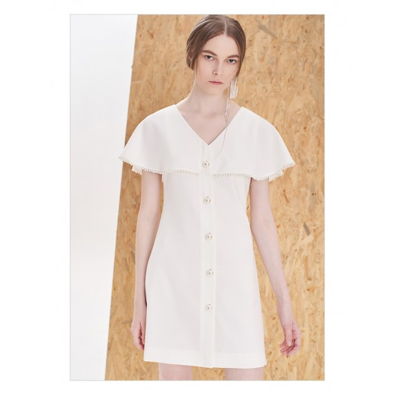 IcyNude V-Neck Button Dress