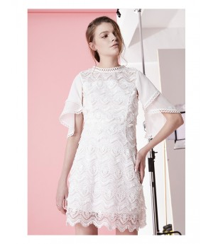 IcyNude White Lace Floral Dress