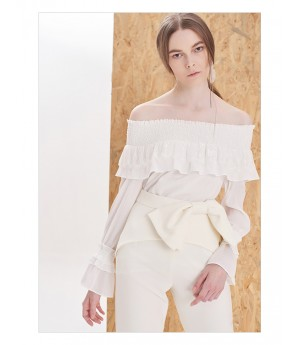 IcyNude Off-Shoulder Elastic White Top
