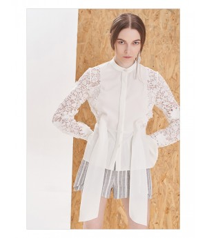 IcyNude Lace Sleeve Stand Collar Shirt