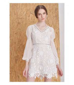 IcyNude 3D Floral Lace Dress