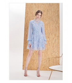 IcyNude Blue Ostrich Feather Dress